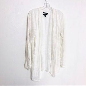 Tahari White Linen Open Tunic Cardigan XL